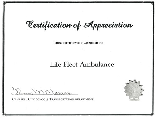 Certificate of Appreciation from Campbell City School Transportation Department